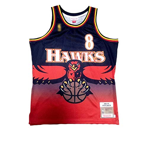 QQVV # 8 Steve Delano Smith Fans Basketball Trikots,Atlanta Hawks Retro Memorial Edition Boutique Mesh Jersey Weste T-Shirt Top Herren Boy-A_XL—Weihnachten Sportgeschenke