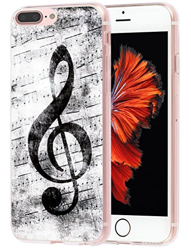 MUQR Case for Phone 7 Plus Flexible Gel Silicone Slim Drop Proof Protection Cover Compatible with iPhone 8 Plus & Case for Phone 7 Plus Cover Music Note Vintage Design Pattern
