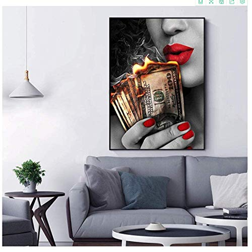 Crazystore Canvas printing 70x90cm no frame Art Red Lips Pictures Lovers Girl Fire Money Wall Art Poster Modern for Living Room Office Bar Home Decor