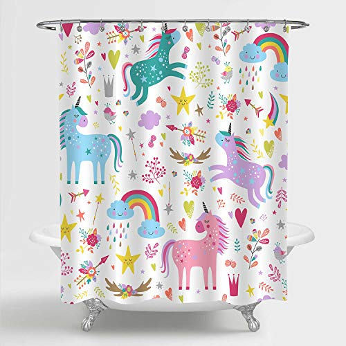 MitoVilla Unicorn Shower Curtain for Baby Kids Bathroom Decor, Colorful Cartoon Unicorns, Rainbow Stars and Arrows Pattern Decorative Bathroom Accessories, Unicorn Gifts for Women and Girls, 72' x 72'