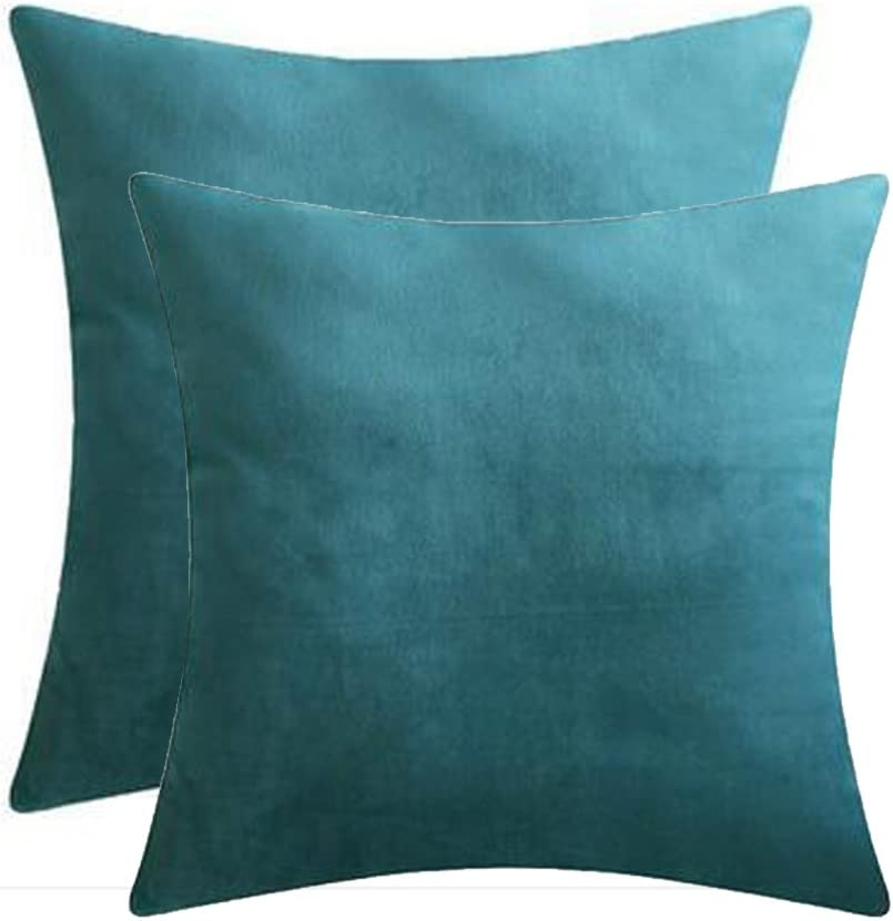 Andreannie Set of 2 Velvet Cozy Super Soft Comfortable Solid Decorative Throw Pillow Covers Cushion Case for Sofa Living Room 18 inches Both Sides (Teal Blue, 2 pcs 18