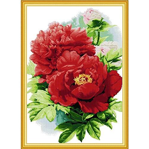 Peony Blooming mit Reichtum Kreuzstich Kit Aida 14ct 11ct Count-Druck Leinwand Kreuzstichen Näharbeit Stickerei DIY Handmad Handgemachte Kreuzstich