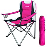 Camabel Folding Camping Chairs Hold Up 400lbs Large Outdoor Lawn Adult Chair Padded Sports Chair Lightweight Chairs for Beach Hiking Fishing BBQ Spectator with Cup Holder and Storage Bag Hanami Pink
