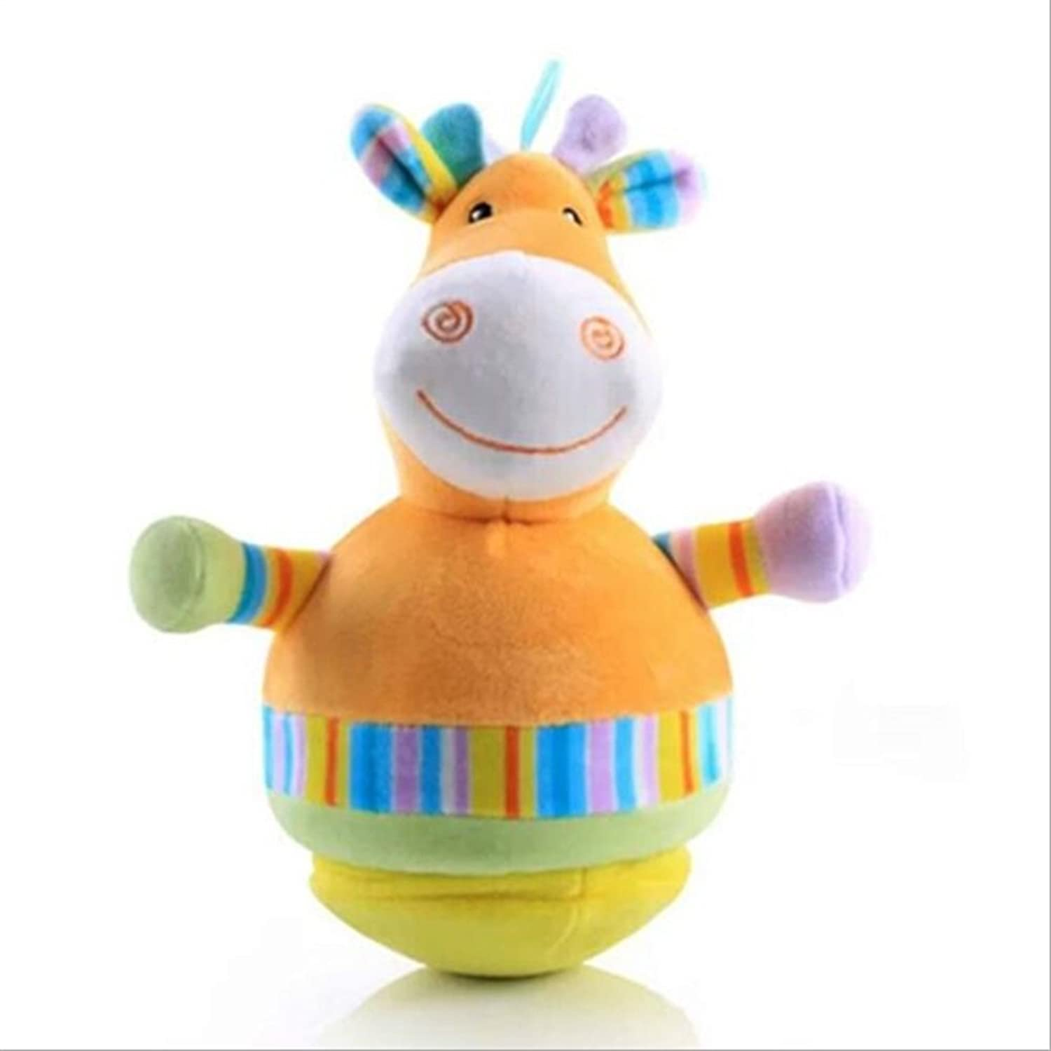 Baby Novelty Toy Adorable Elephant colorful Soft Hand Rattles Crawling Kids Bell Ball Toy Gift(Giraffe)