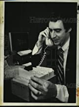 Vintage Photos 1980 Press Photo Jeffery Sheehan Talks on Telephone and Looks at Index Cards