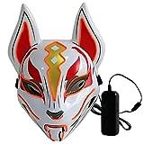 Lixada Máscara completa de 10 colores de zorro, luces de neón, para Halloween, fiesta de disfraces