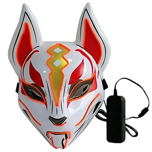 Lixada - Máscara completa de zorro con luz de neón para Halloween, fiestas, pantalla LED oscura brillante, naranja