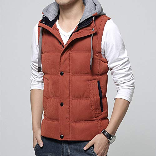 BAONUANY Gilet Mensen, Oranje Casual Mannen Vest Mannen Slim Fit Taillejas Hoed Afneembare Hooded Winter Warm Windbreak Mannen Vest M- 4Xl