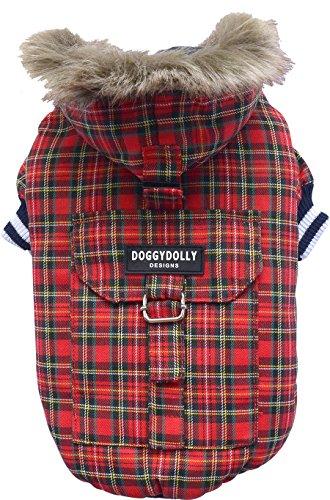 Doggy Dolly W128 Hundejacke mit Kapuze und Kunstfell, rot Kariert, Outdoor Wintermantel/Winterjacke, Größe : S