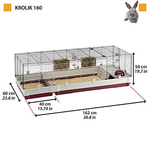 Ferplast Jaula para Conejos KROLIK 160, Conejillos de Indias, Conejera, Kit de Montaje, Extensión Separable Mediante una Rejilla metálica, Accesorios incluidos, 162 x 60 x h 50 cm Burdeos