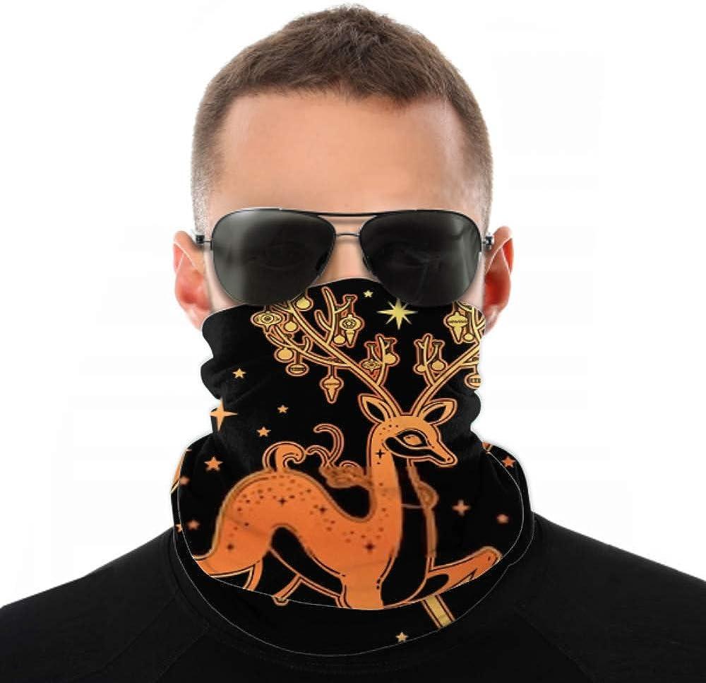Headbands For Men Women Neck Gaiter, Face Mask, Headband, Scarf Christmas Deer Vintage Art Greeting Card Turban Multi Scarf Double Sided Print Elastic Headband For Sport Outdoor