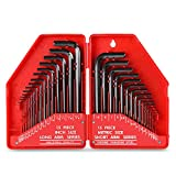 Hi-Spec 30pc Hex Key Set of SAE / Imperial & Metric Sizes of Short / Long Arm CRV Steel Allen Keys for Furniture Assembly, Bike Maintenance, Household DIY & Applications in Hard Case, Essential Tool box Kit Addition