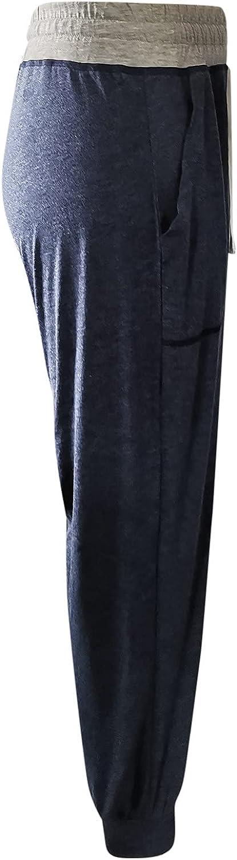 Jumaocio Women Sports Pants Solid Color Straight Elastic Waist Trousers (Navy-2, L)