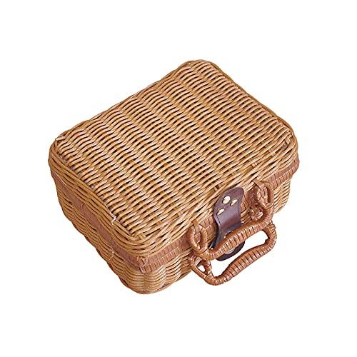 CREACEC Rattan Picknickkorb, Aufbewahrungskoffer Landhausstil Korb Mit Doppelgriff Qualität Lebensmittel Obst Aufbewahrungskorb,Braun