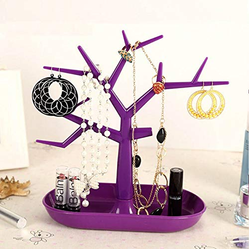 Display Jewllery Organizer Show Rack Jewelry Necklace Ring Earring Plastic Tree Stand Necklace Organizer Jewelry Earings Holder (Color : Purple)