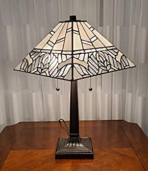 Amora Lighting AM306TL14 Tiffany Style White Mission Table Lamp 22 H x 14 W