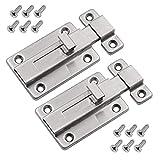 3 Inch Stainless Steel Door Bolts, Latch Barrel Sliding Door Lock Mounted Slide Bolt for All Types of Internal Doors (2PCS)