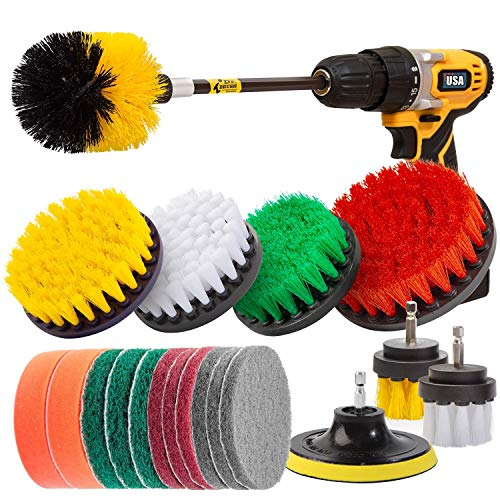Drill Brushes, 20pcs Drill Brushes Attachment Set, Power Scrubber Drill Brush Kit for Cleaning Bathroom Surfaces Floor Tub Shower Tile Kitchen Automotive Grill, Fits Most Drills