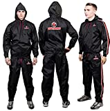 MMA Sauna Suit for Men and Women, Waterproof Anti-Rip Sweat Suit for Weight loss 2PC set, workout suit for Sports, Running, Cycling, Treadmill, Boxing & Fitness. (Red Hoodies & Pants, Small)