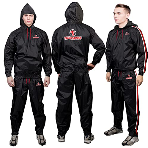 FIGHTSENSE MMA Sauna Sweat Suit Non Rip Track Weight Loss Slimming Fitness Gym Exercise Training (Red Hoodies & Pants, XL)