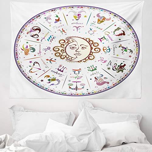 ABAKUHAUS Tierkreis Wandteppich und Tagesdecke, Astrologie Sternzeichen, aus Weiches Mikrofaser Stoff Modernster Digitaldruck Technologie, 150 x 110 cm, Mehrfarbig