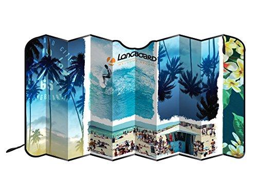Longboard 078082- Parasol Delantero para Coche, Aluminio Aislante, diseño de Playa, tamaño XL