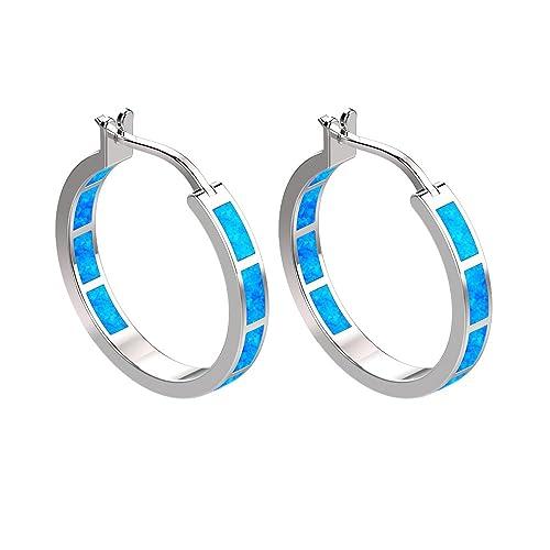 c7404ee75 Elegant Hoop Earrings 925 Sterling Silver Round Creole Blue Green Fire Opal  Inlay Earrings for Women
