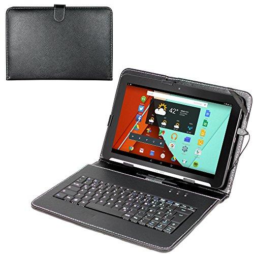 Navitech deutsche QWERTZ Tastatur/Keyboard mit Micro USB und eingebautem bycast Leder Case/Stand in Schwarz für das Yuntab 10.1 Zoll Tablet-PC