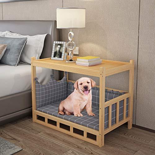 JLXJ Cama para Perros Cama de Madera para Perros/Gatos para Cachorros Grandes Medianos, Sofá Cama Diseño de Mesa Auxiliar, Exterior Interior Ortopédico Elevado Sofá para Perros con Alfombra Lavable