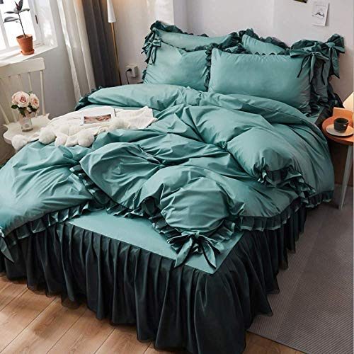 Bar Stools Silk duvet cover sheets four-piece silky soft bedding set single double free mail dark green