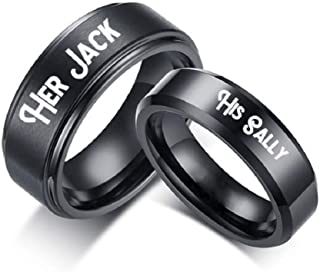 842e9695ad His Sally Her Jack Black Stainless Steel Romantic Couple Ring Lovers Promise  Anniversary Engagement Wedding Bands