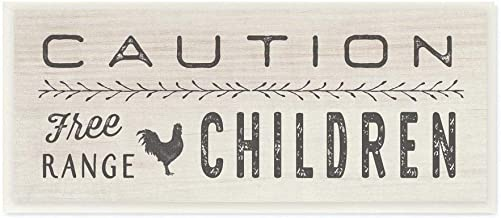 The Stupell Home Décor Collection Caution Free Range Children Wood Plaque Wall Art, 7 x 17 Inches