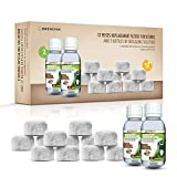 Coffee Machine Descaling Solution Plus Charcoal Filters - Universal Descaler Concentrate for All Keurig 1.0 & 2.0 K-Cup Pod Machines and Espresso Machines (2 x 4 Fl Oz + 12 Pcs Water Filters)