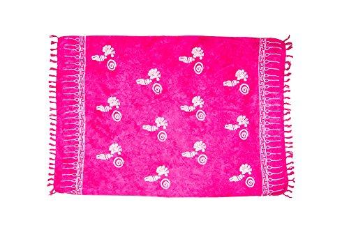 MANUMAR Damen Pareo blickdicht, Sarong Strandtuch in pink mit Muschel Motiv, XXL Übergröße 225x115cm, Handtuch Sommer Kleid im Hippie...