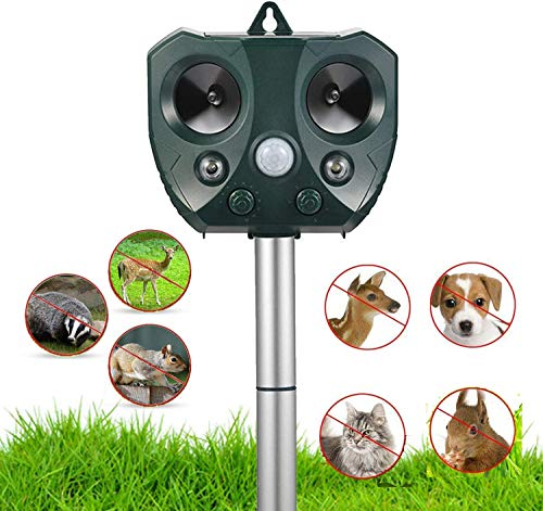Ultrasonic Animal Repellent Outdoor,Solar Powered Waterproof Animal Repeller with Motion Sensor, Effectively Scares Repels Deer Raccoon Cat Dog Rabbit Squirrel Bird (L)