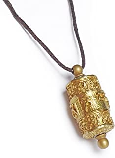 Copper tibet prayer wheel pendant ,freely rotate smoothly, Exquisite and delicate carved prayer mantra