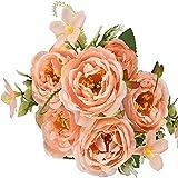 YYHMKB Flores de Seda de peonía Artificial Peonías Falsas Ramo Vintage Centros de Mesa para el hogar Decoración de la Boda (Púrpura) Naranja