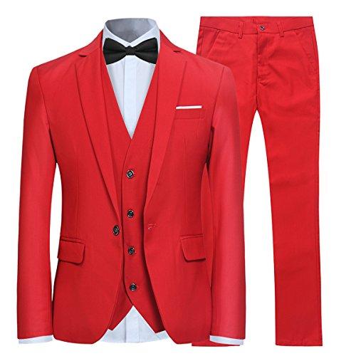 Allthemen Anzug Herren Slim Fit 3 Teilig Anzüge Modern Herrenanzug 3-Teilig Sakko Hose Weste für Business Hochzeit Rot Medium