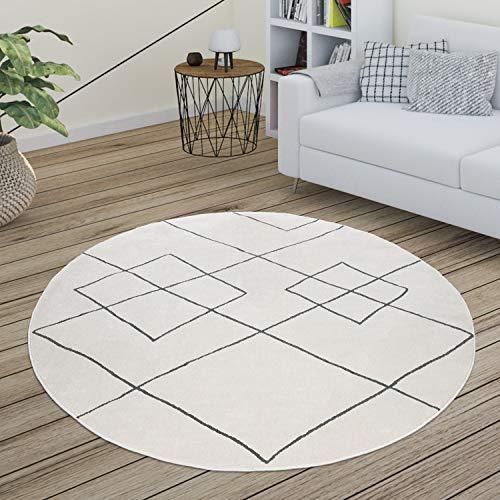 Paco Home Tapis Salon Scandinave Motif Diamant Moderne Blanc Différents Designs Tailles, Dimension:Ø 160 cm Rond, Couleur:Blanc