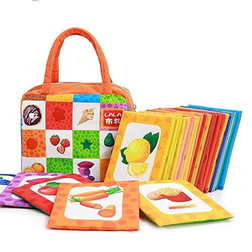 LVYE1 Kinderspielzeug Tuchbuch Palm Buch Frühe Bildung Puzzle Keine Angst Vor Dem Zerreißen Puzzle-Karte Für Kinder 0-3 Jahre Alt Lebensmittel- Und Farbwahrnehmung
