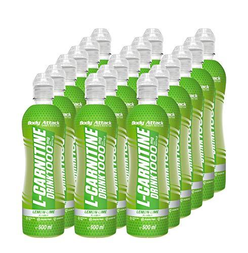 Body Attack L-Carnitine Drink - 1000mg L-Carnitin pro Flasche - zuckerfrei (18x 500 ml) (Lemon-Lime)