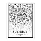 SHBKGYDL Bilder Auf Leinwand,World City Shanghai Karte