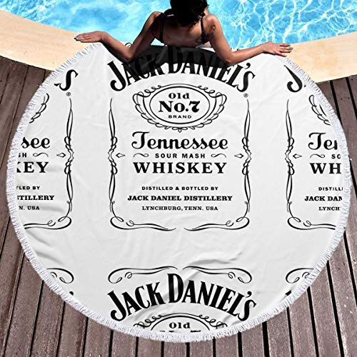 Tanny Note JA-CK DANI-ELS Round Beach Towel 59 in Microfiber Beach Towels Travel Towel,Ultra Absorbent and Compact. Suitable for Camping, Beach, Gym, Swimming, Backpacking
