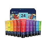 Pinturas Acrílicas 24 Tubos Set de Pinturas Acrílicas Rico Pigmentos para Lienzos Madera Manualidades Artistas Niños Principiantes, 36ml/Tubo