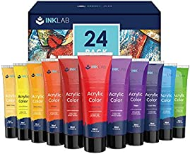 Acrylic Paint Set 24 Colors Acrylic Paints in Tubes Non Toxic for Artists Beginners Kids Painting on Canvas Wood Fabric Crafts Rocks, 36ml/Tube