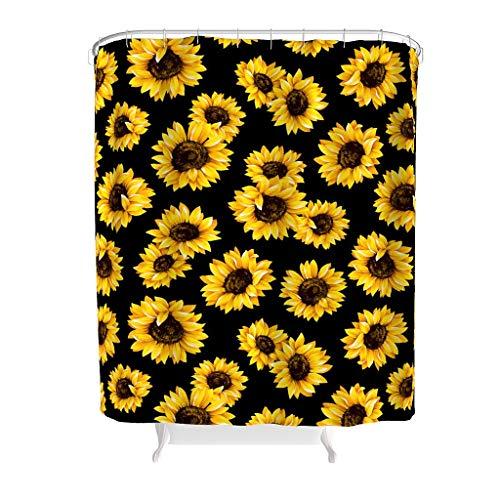 WOSITON Juego de cortina de ducha de girasol (1) lavable a máquina, cómodo diseño con ganchos blanco 180 x 200 cm