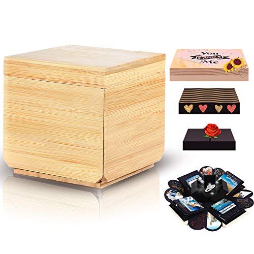 Kicpot Wooden Album Box , Creative DIY Photo Album,Explosion Gift Box,Wood Scrapbook Box Surprise Gift for Valentines Day Wedding Birthday Anniversary Mother's Day