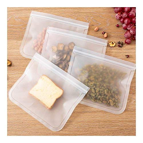 Dsnmm 12 Stück Silikon-Nahrungsmittelspeicher-Beutel Preservation Kühlschrank Einfrieren Food Storage Reusable Jar Taschen Fresh Produce Flasche Druckverschlussbeutel