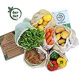 bun-di ECO 6er Set Wiederverwendbare Obst- und Gemüsebeutel aus Baumwolle mit Saisonkalender und Brotbeutel in Geschenkbox Nachhaltige Einkaufsnetze   Obstnetze   Gemüsenetze mit Gewichtsangabe
