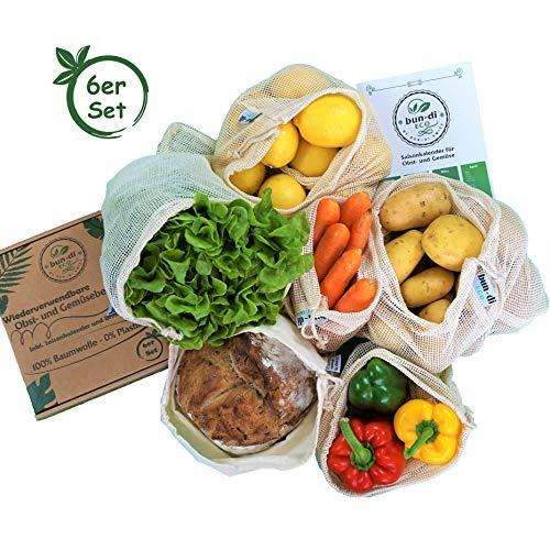 bun-di ECO 6er Set Wiederverwendbare Obst- und Gemüsebeutel aus Baumwolle mit Saisonkalender und Brotbeutel in Geschenkbox Nachhaltige Einkaufsnetze | Obstnetze | Gemüsenetze mit Gewichtsangabe